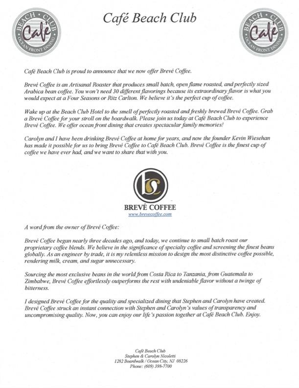 Cafe Beach Club - 2021 Press Release Breve Coffee Final